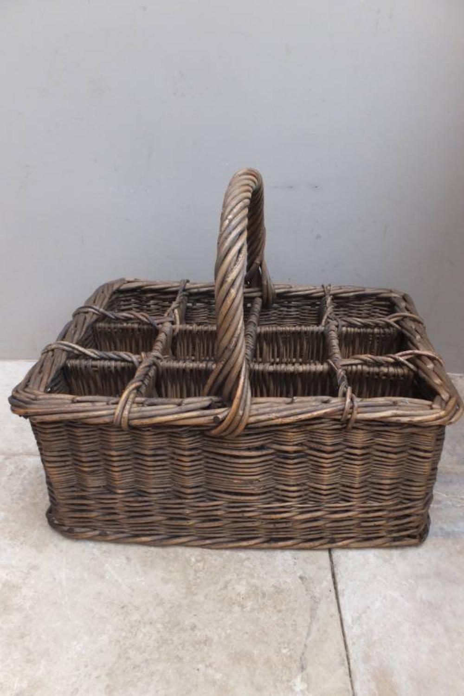 Superb Large Antique English Bottle Basket c.1920