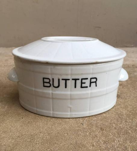 Edwardian White Banded Butter Dish