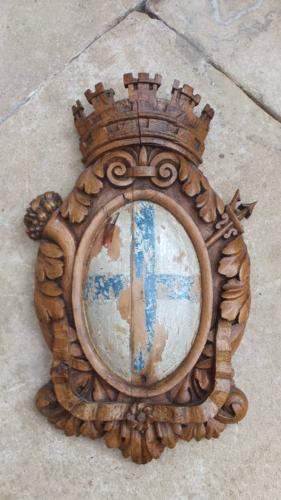 Victorian Carved Oak Armorial