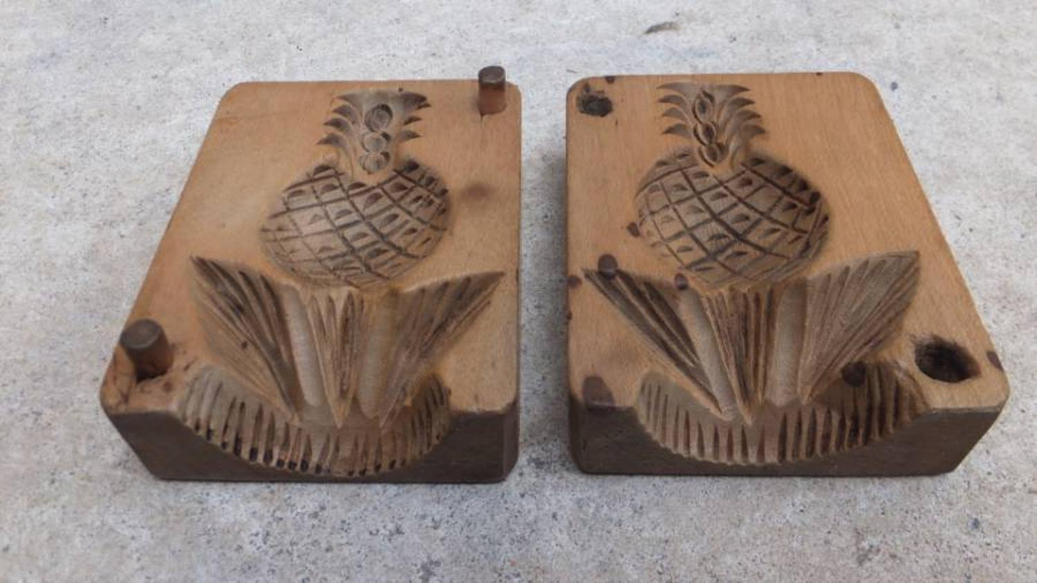 Rare Victorian Sycamore Treen Two Part Butter Mould - Pineapple
