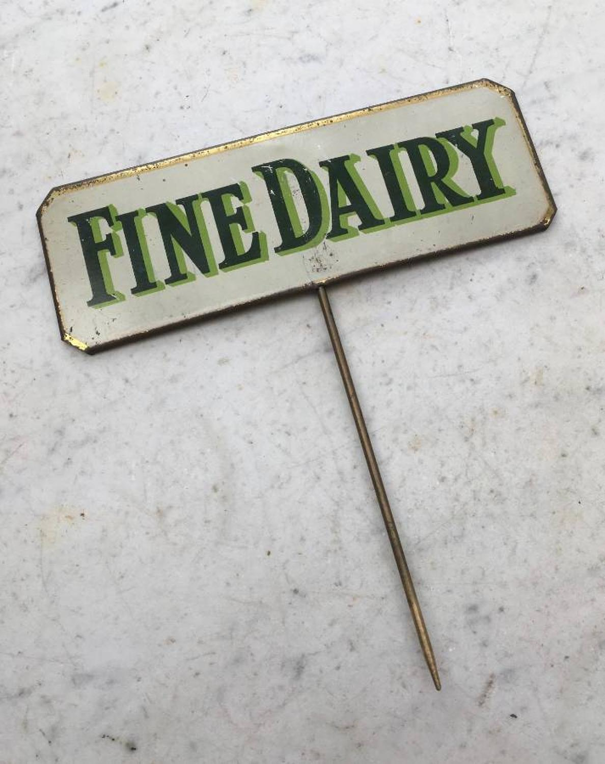 1920s Grocers Advertising Sign - Fine Dairy
