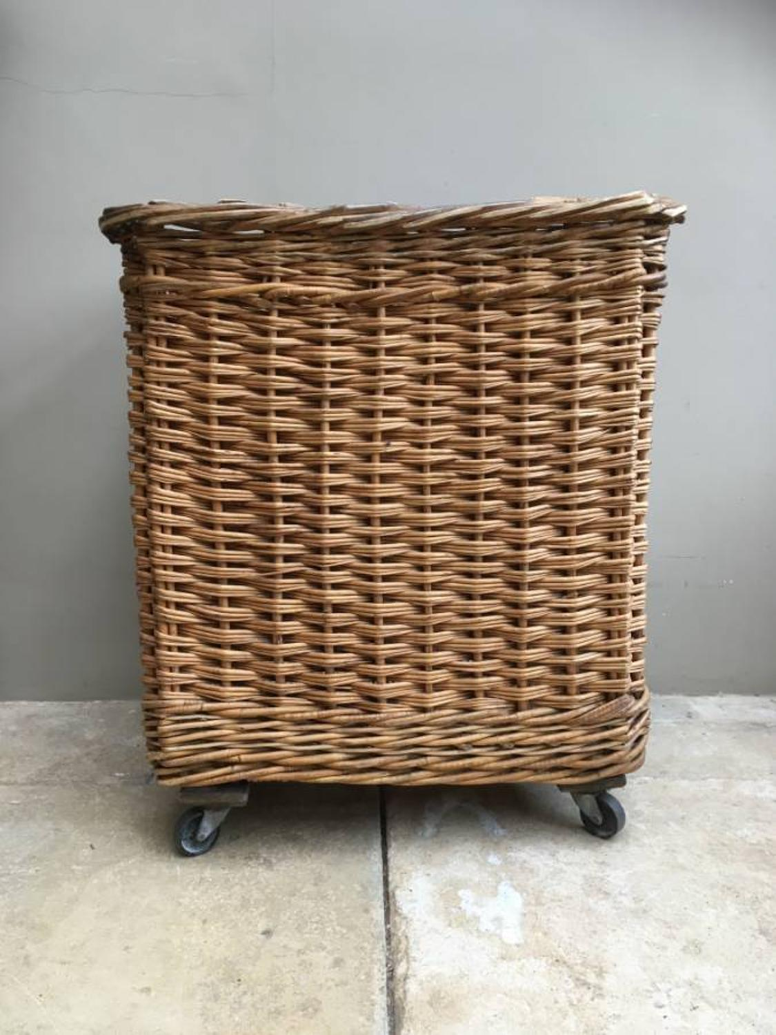 Superb Early 20th Century Laundry Basket on Wheels - Perfect for Logs