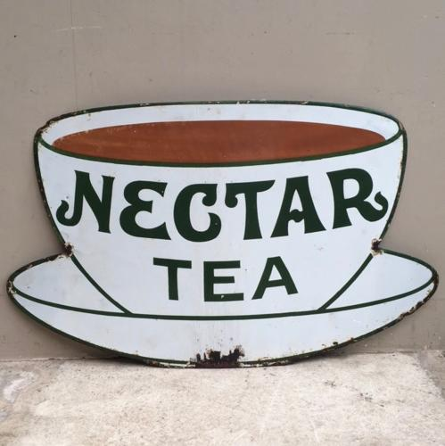 Rarer Small Size Early 20th Century Enamel Sign - Nectar Tea