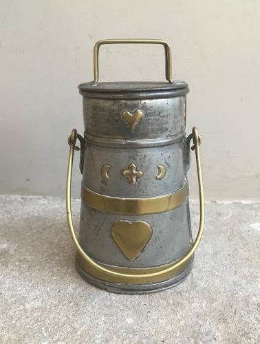 Victorian Brass Banded Cream Churn with Hearts
