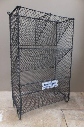 1930s Galvanised Fruit & Vegetable Rack with Rare Enamel Plaque