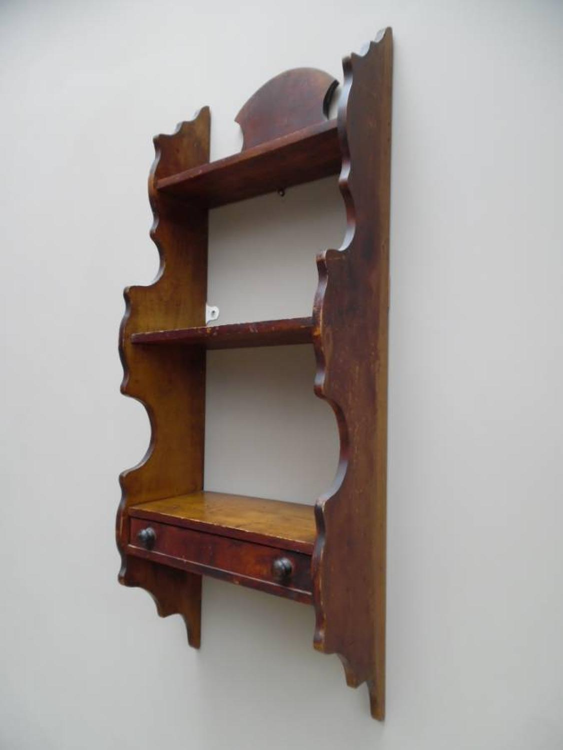 Victorian Pine Wall Shelves in Original Paint