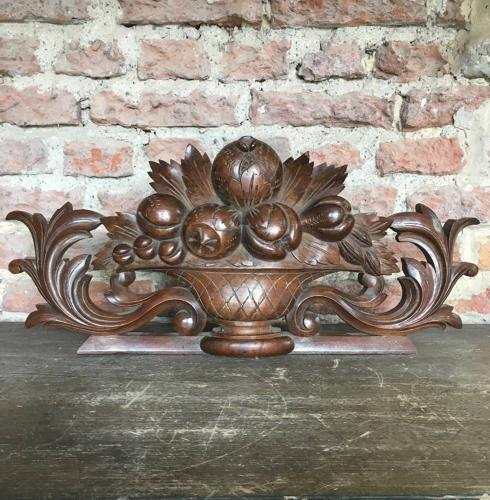 Victorian Carving - Urn with Fruit - Hook to Wall Hang