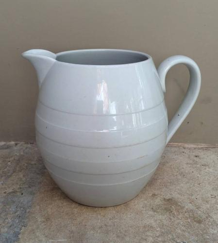 Late Victorian White Barrel Banded Dairy Milk Jug