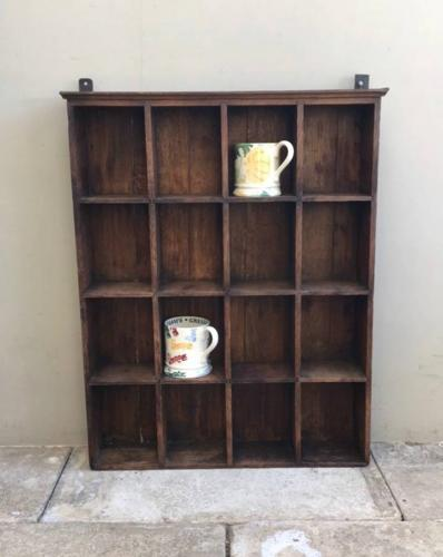 Early 20th Century Oak Pigeon Hole Shelf - Perfect for Mugs