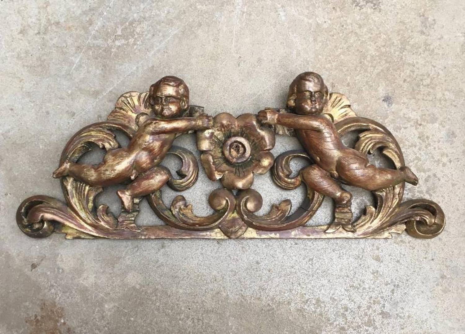18th Century Gilded Pine Pediment - Cupid Angels Puti & Central Flower