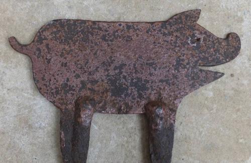 Edwardian Iron Boot Scraper - Pig