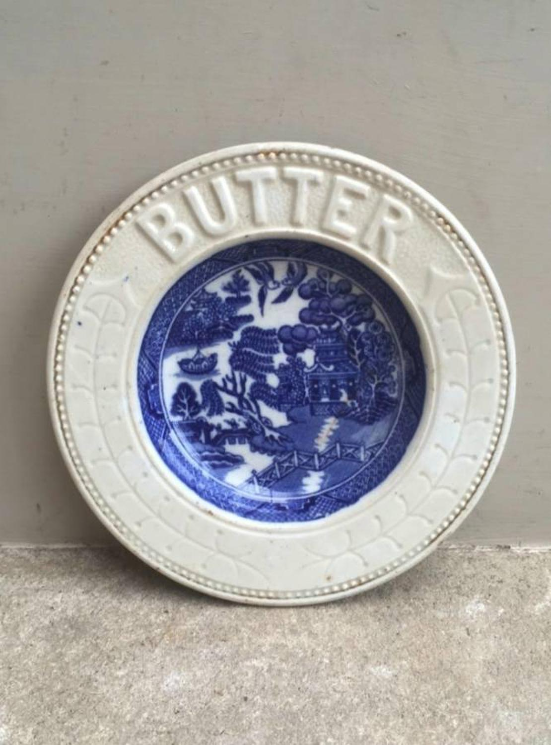 Edwardian White Ironstone Butter Dish with Willow Pattern Centre