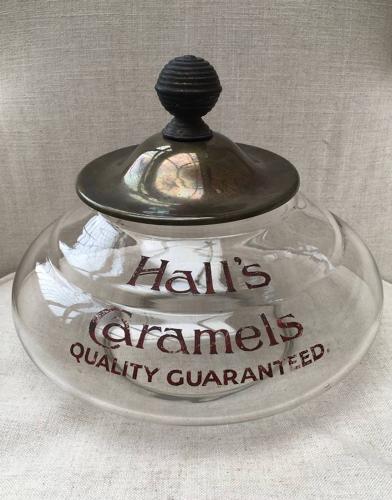 1920s Large Rare Shops Glass Advertising Jar - Halls Caramels