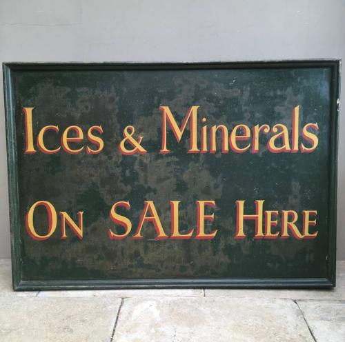 Large 1940s Painted Sign - Ices & Minerals On Sale Here