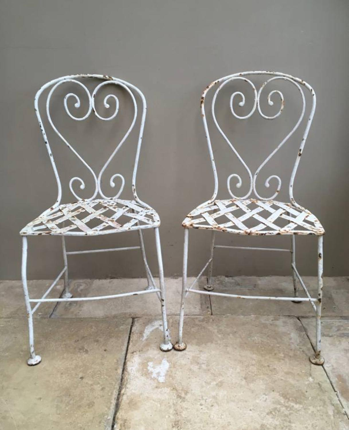 Late Victorian Pair of Garden Chairs - Wonderful Paint