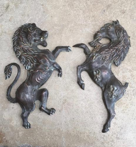 Victorian Hand Chased Copper Matching Lion & Horse