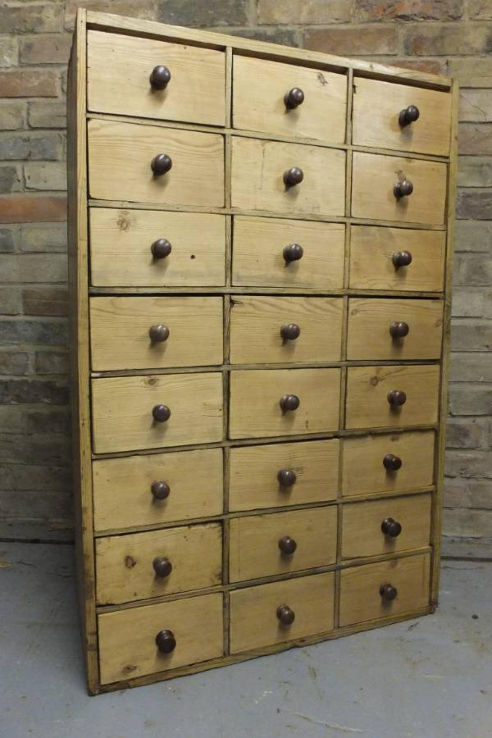 Victorian Pine Bank of 24 Spice Drawers