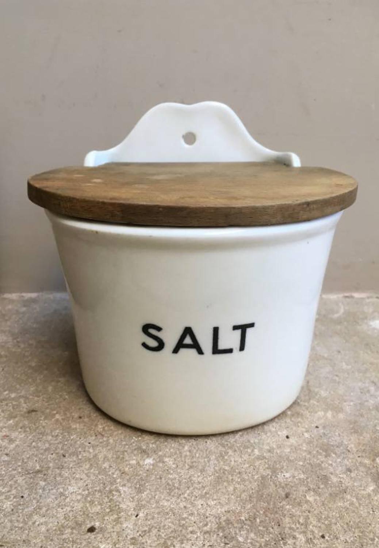 Rare Early 20th Century White Ironstone Salt Pot