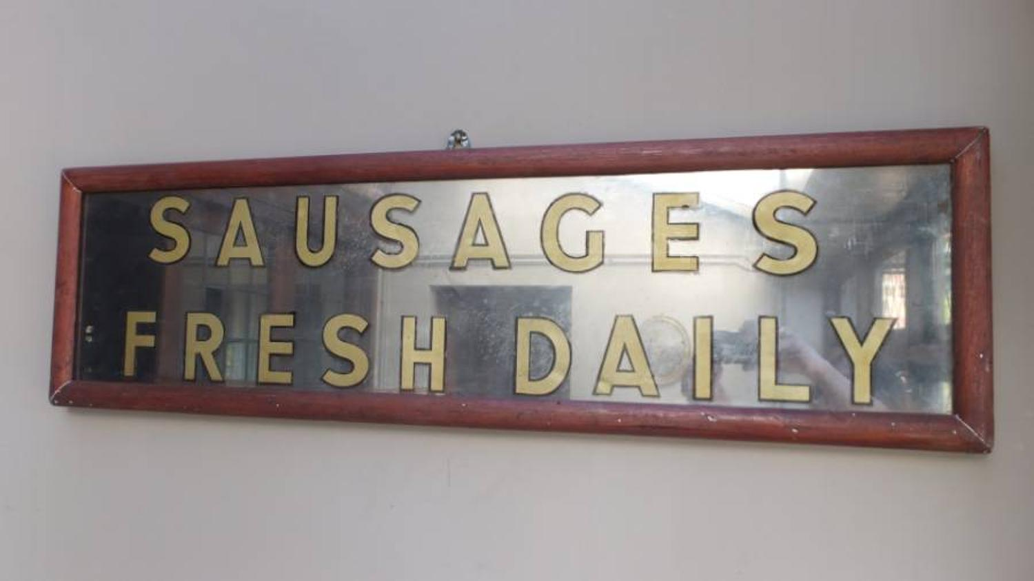 Edwardian Butchers Sign - Sausages Fresh Daily