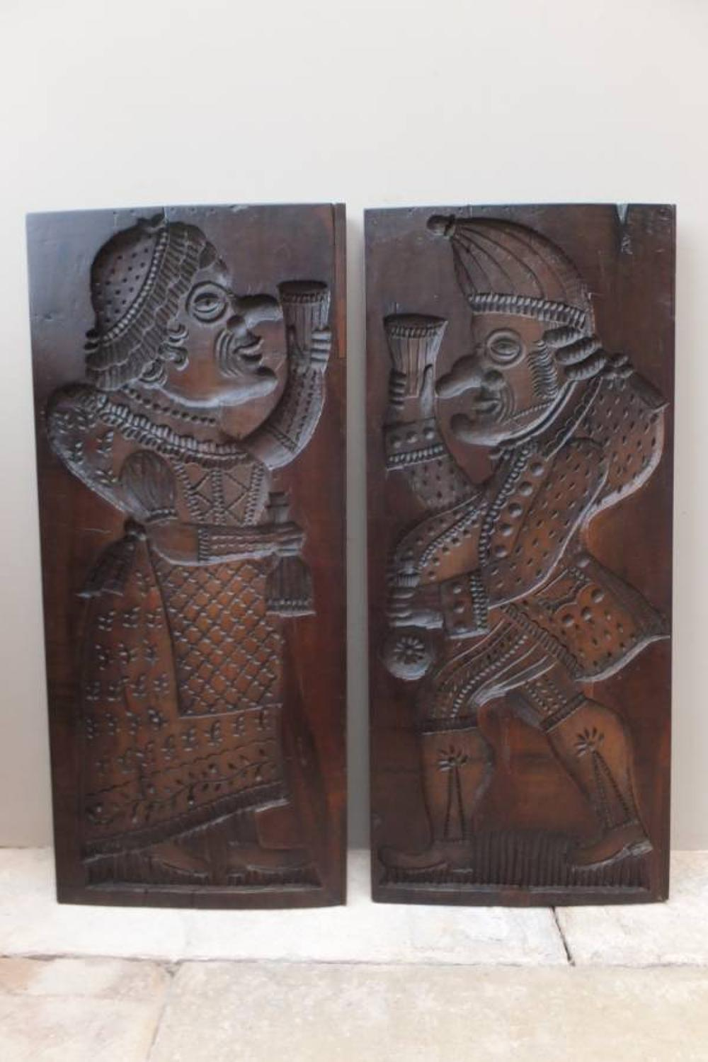 Large Pair of Victorian Treen Punch & Judy Gingerbread Moulds