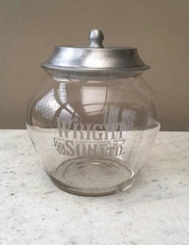 Edwardian Rare Shape Shops Glass Advertising Jar - Wright & Sons Biscu