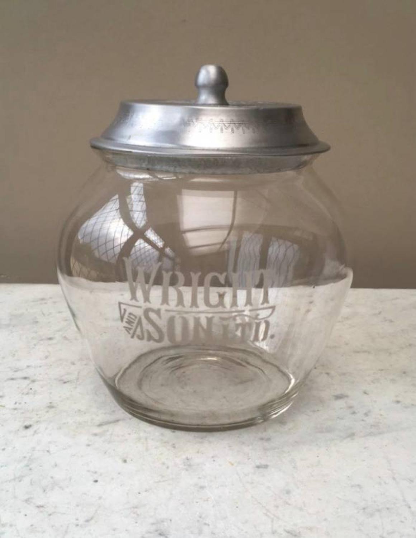 Edwardian Rare Shape Shops Glass Advertising Jar - Wright & Sons Biscu