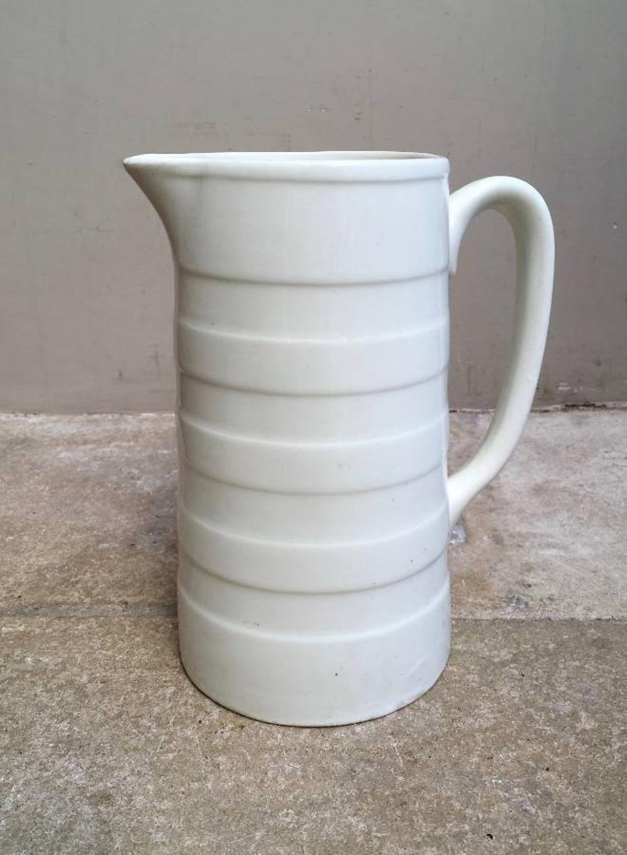 Edwardian White Banded Dairy Cream Jug