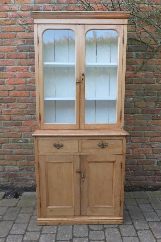 Victorian Pine Glazed Front Dresser - Bookcase - Display Cabinet