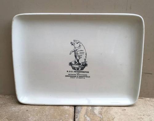 Rare Edwardian White Ironstone Butchers Plate - RDD Hetherington Ltd B