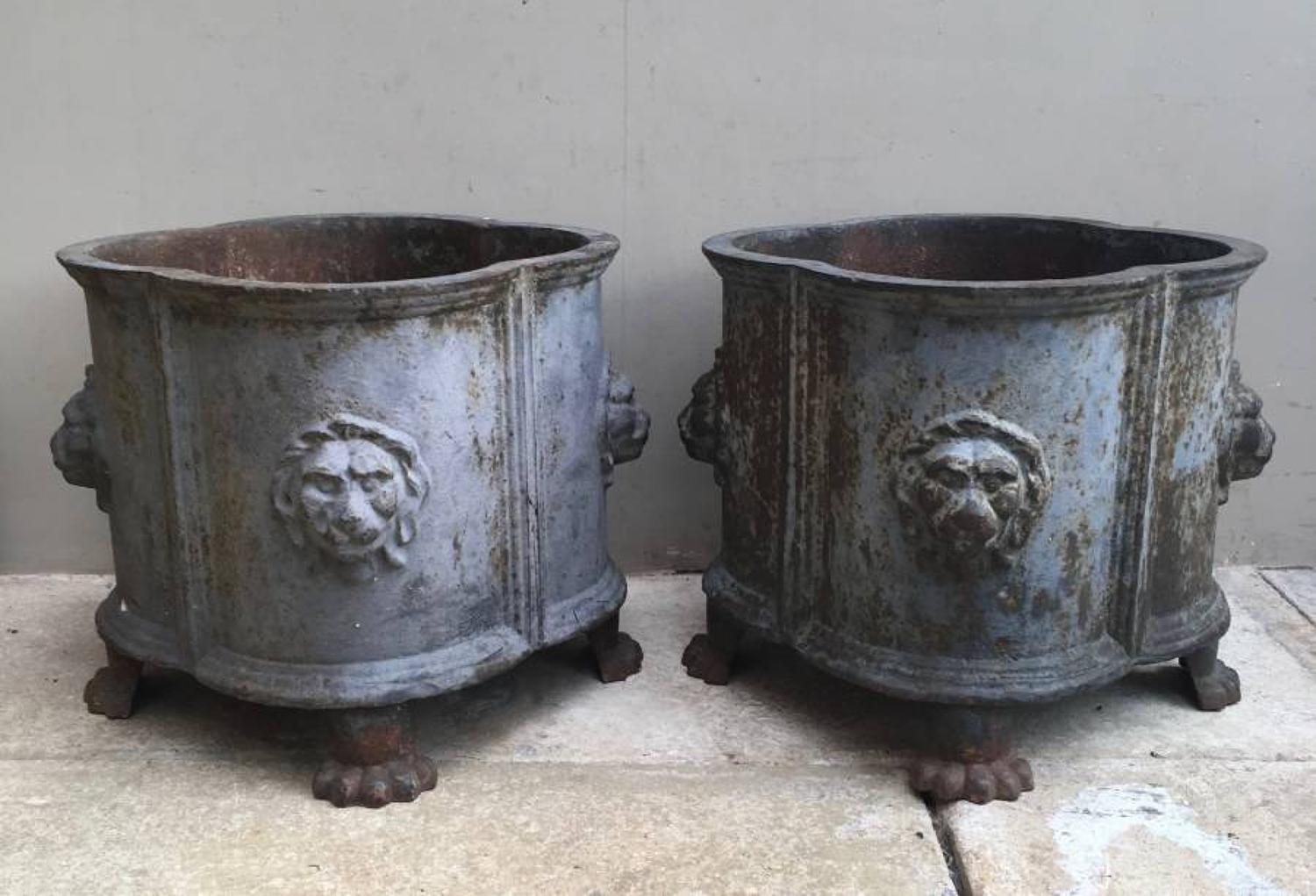 Superb Matched Pair of Victorian Cast Iron Jardinieres