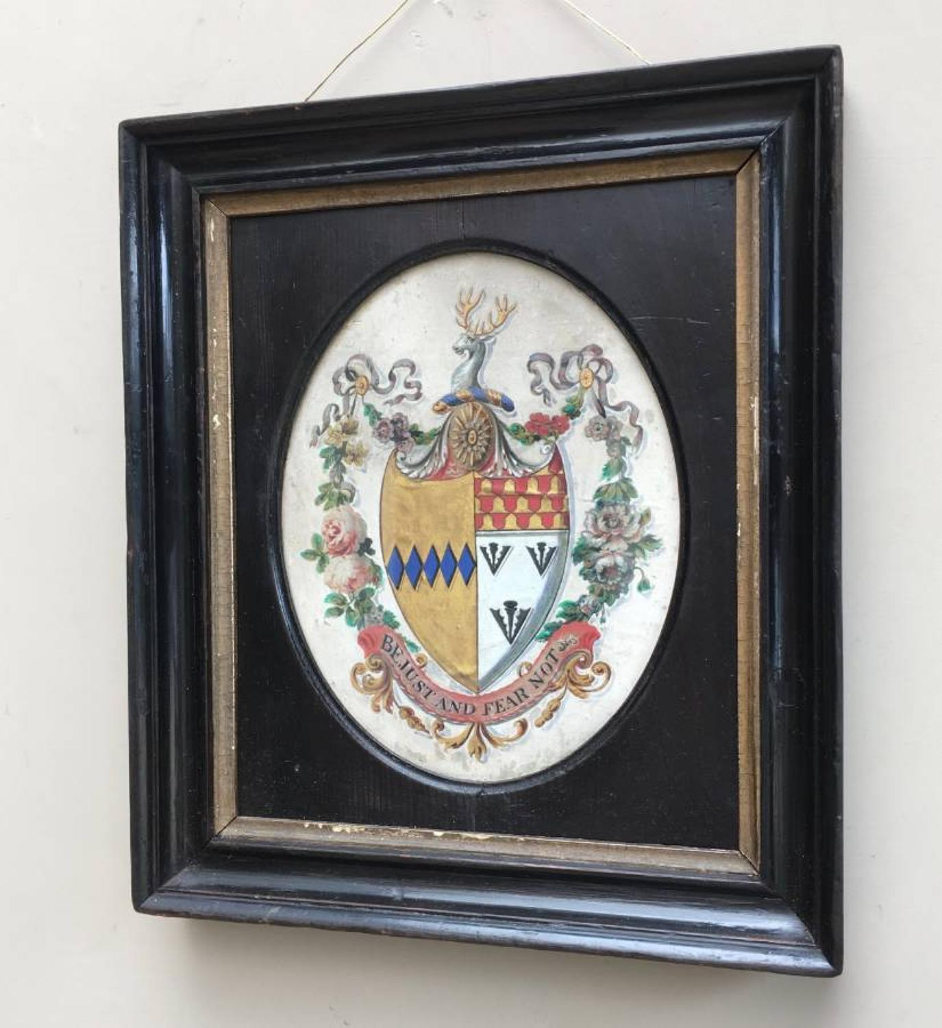 Early Victorian Hand Painted Family Crest in its Original Frame