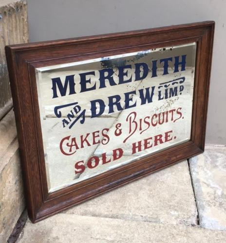 Rare Edwardian Advertising Mirror - Meredith & Drew Ltd Cakes & Biscui