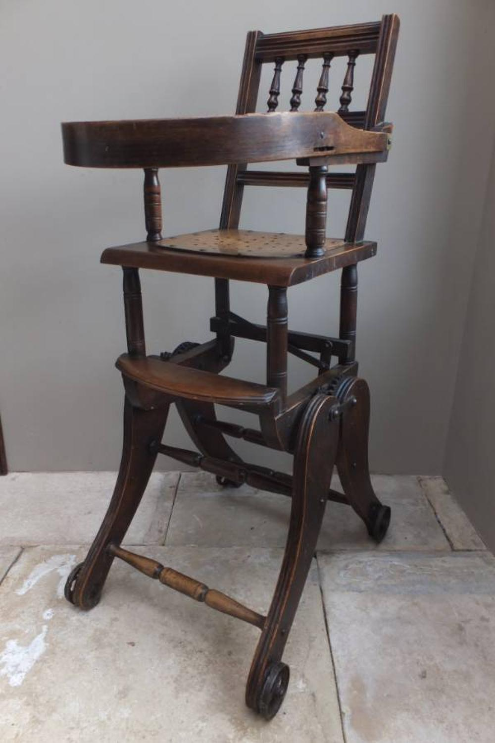 Victorian Metamorphic Childs High Chair - Converts to Rocker - c.1885