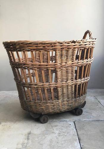 Antique Mill Basket on Wheels - The Perfect Log Basket