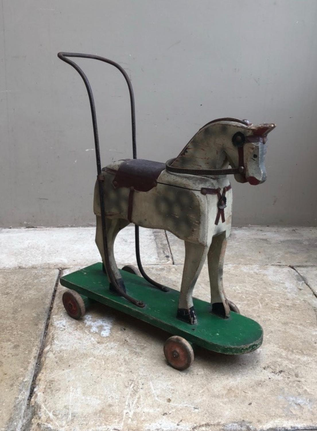 Victorian Push Along Pine Horse - Lovely Original Condition