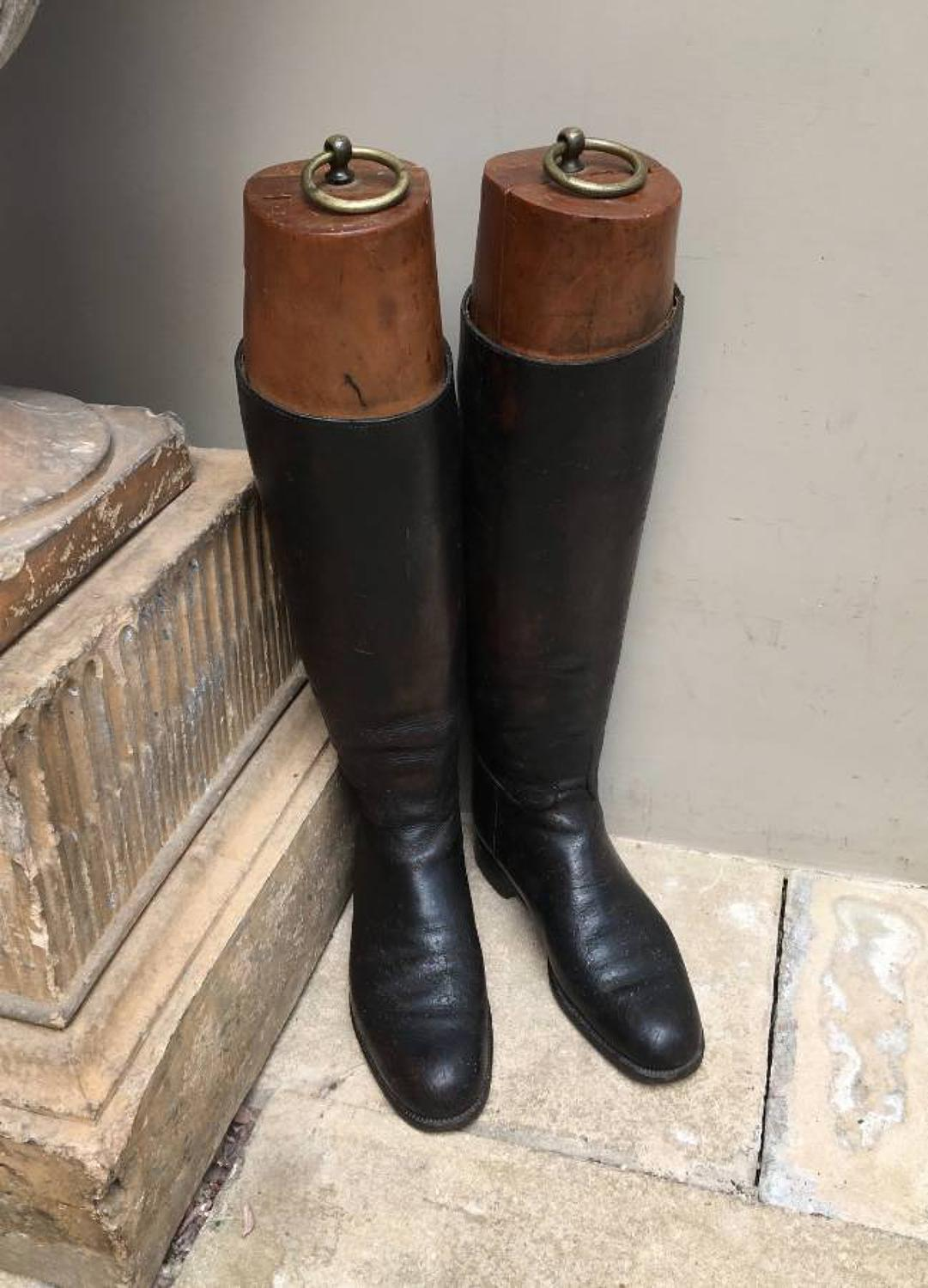 Edwardian Leather Riding Boots with Original Wooden Boot Trees
