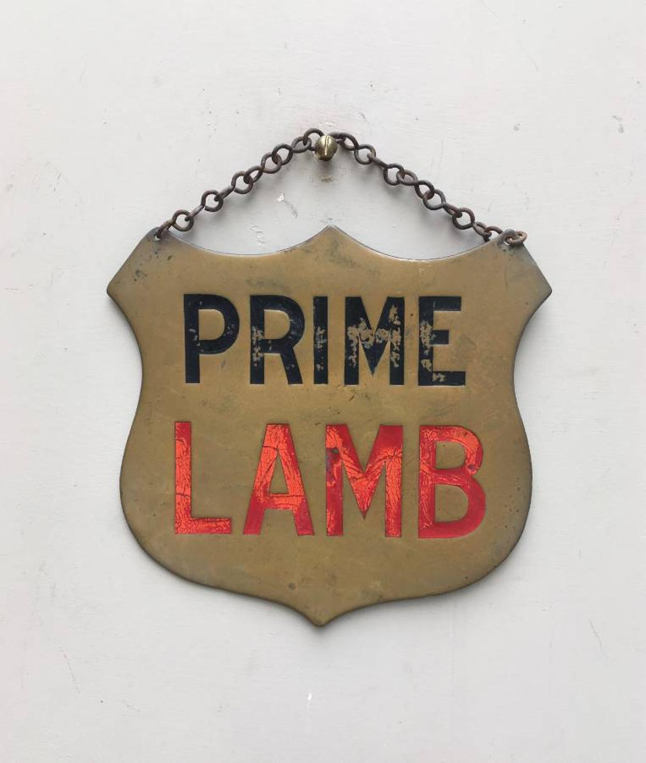 Victorian Brass Butchers Advertising Sign - Prime Lamb