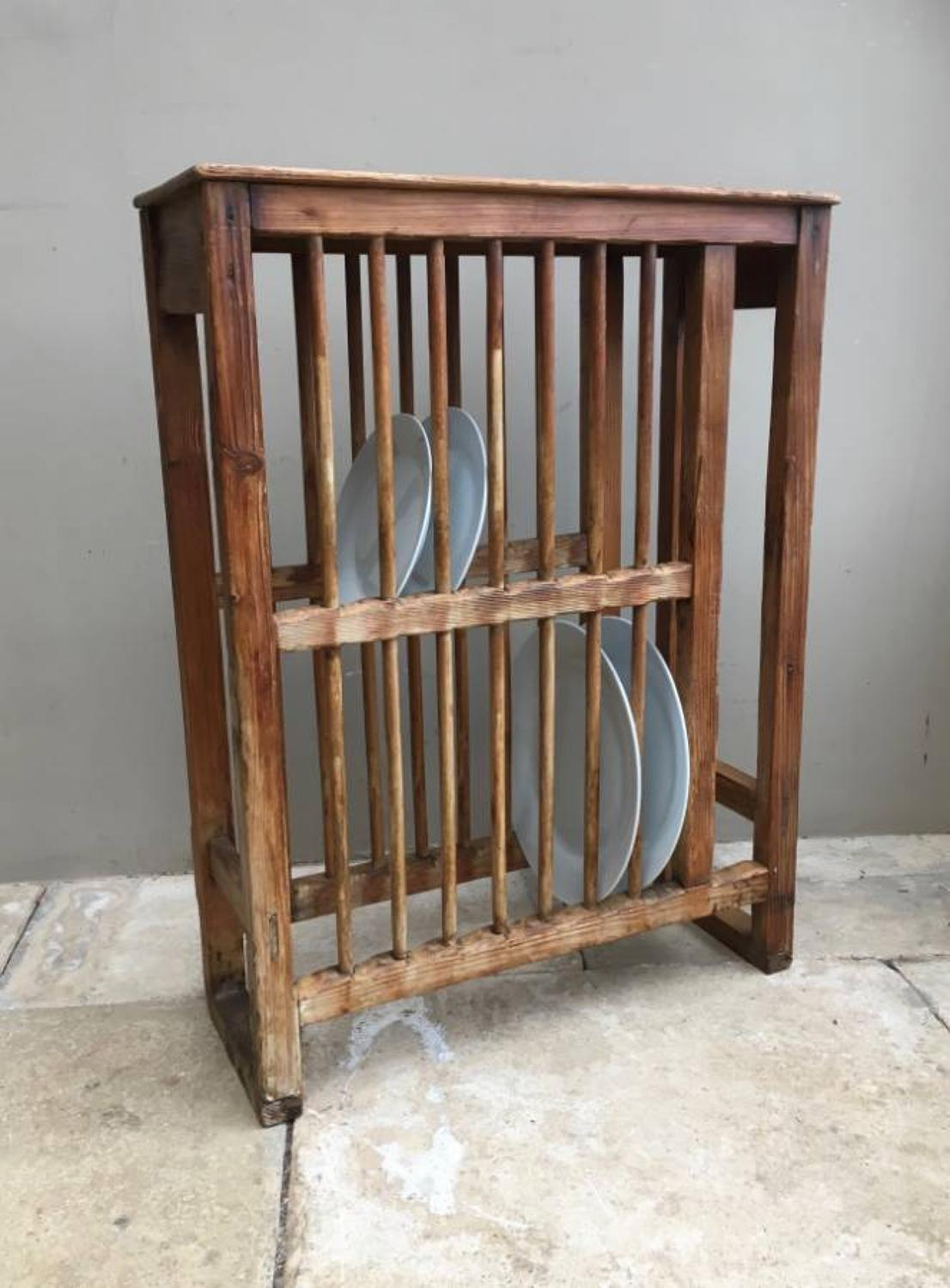 Victorian Pine Two Tier Plate Rack with Shelf Top