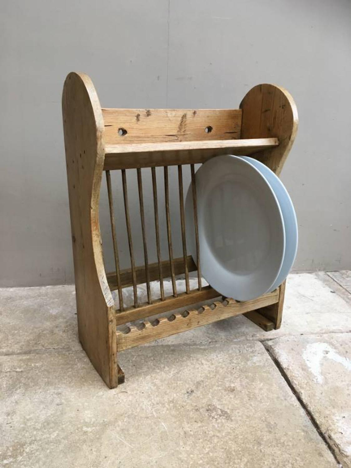 Early 20th Century Pine Plate Rack with Cup Rack