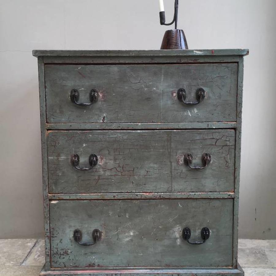 Late Victorian Pine Chest of Three Drawers in Original Paint