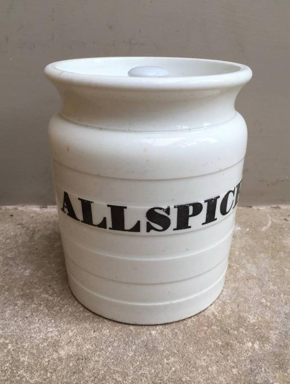 Rare Edwardian White Banded Storage Jar - Allspice