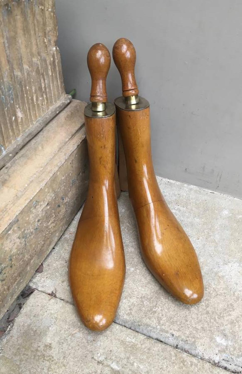 Fine Edwardian Brass Topped Ladies Shoe Trees with Engraving