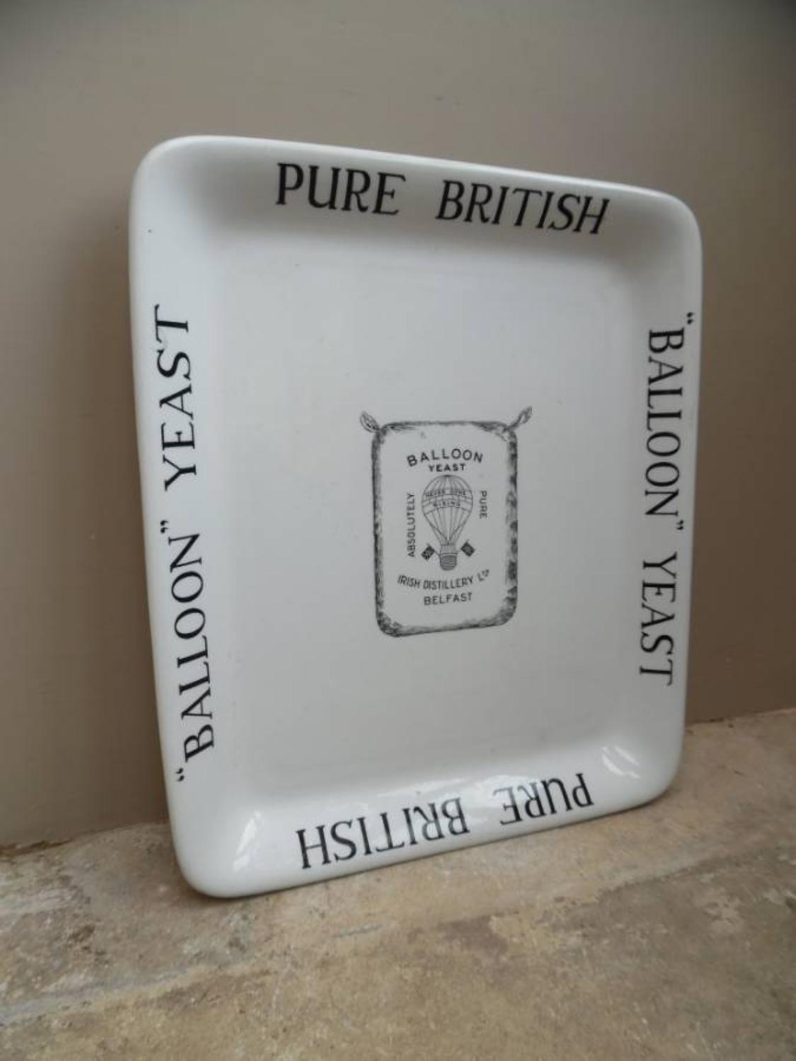 Rare Edwardian Grocers Ironstone Advertising Plate - Balloon Yeast