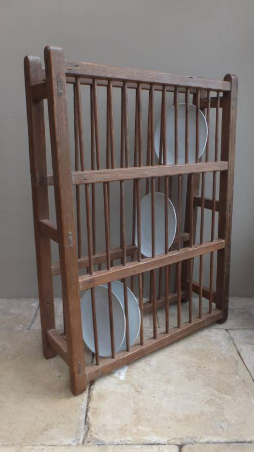 Large Early Victorian Pine Plate Rack