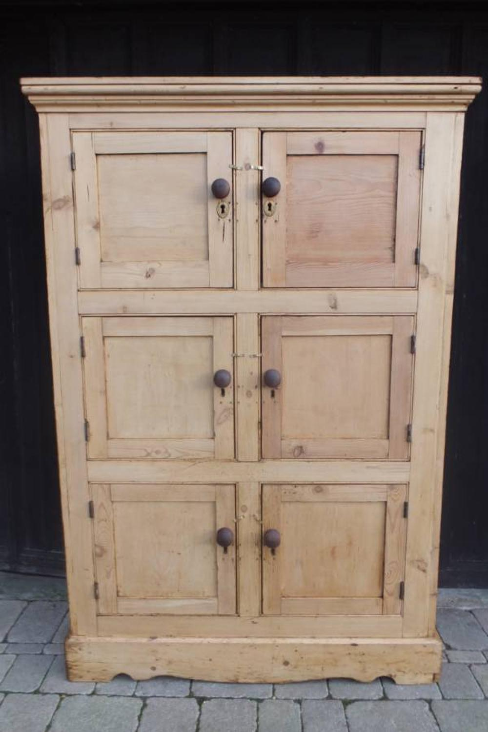 Victorian Six Door Locker Cupboard - Larder - Shoe Cupboard