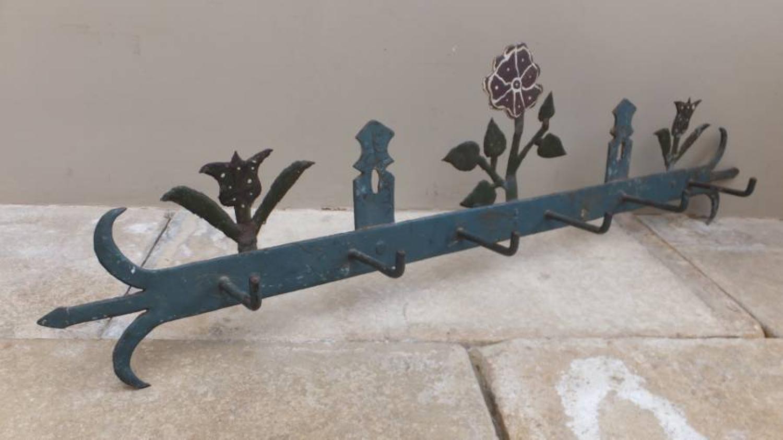 1930s Painted Iron Coat Hooks - Floral Design