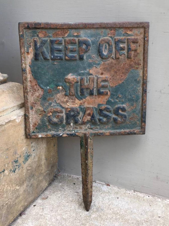 Edwardian Cast Iron Sign - Keep Off The Grass