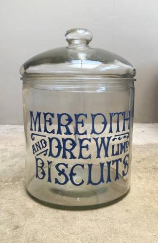 Edwardian Shops Advertising Jar for Meredith & Drew Biscuits