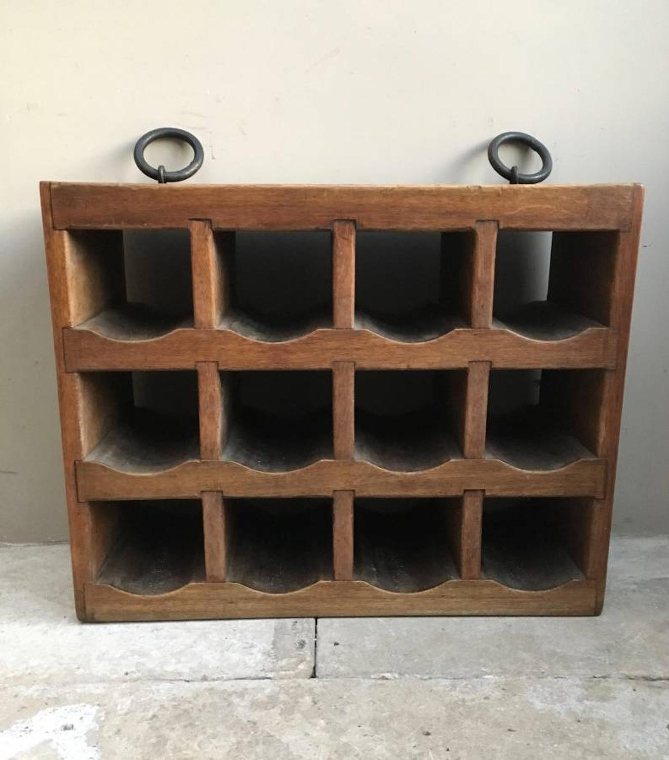 Quality Early 20th Century Mahogany Wine Rack for 12 Bottles