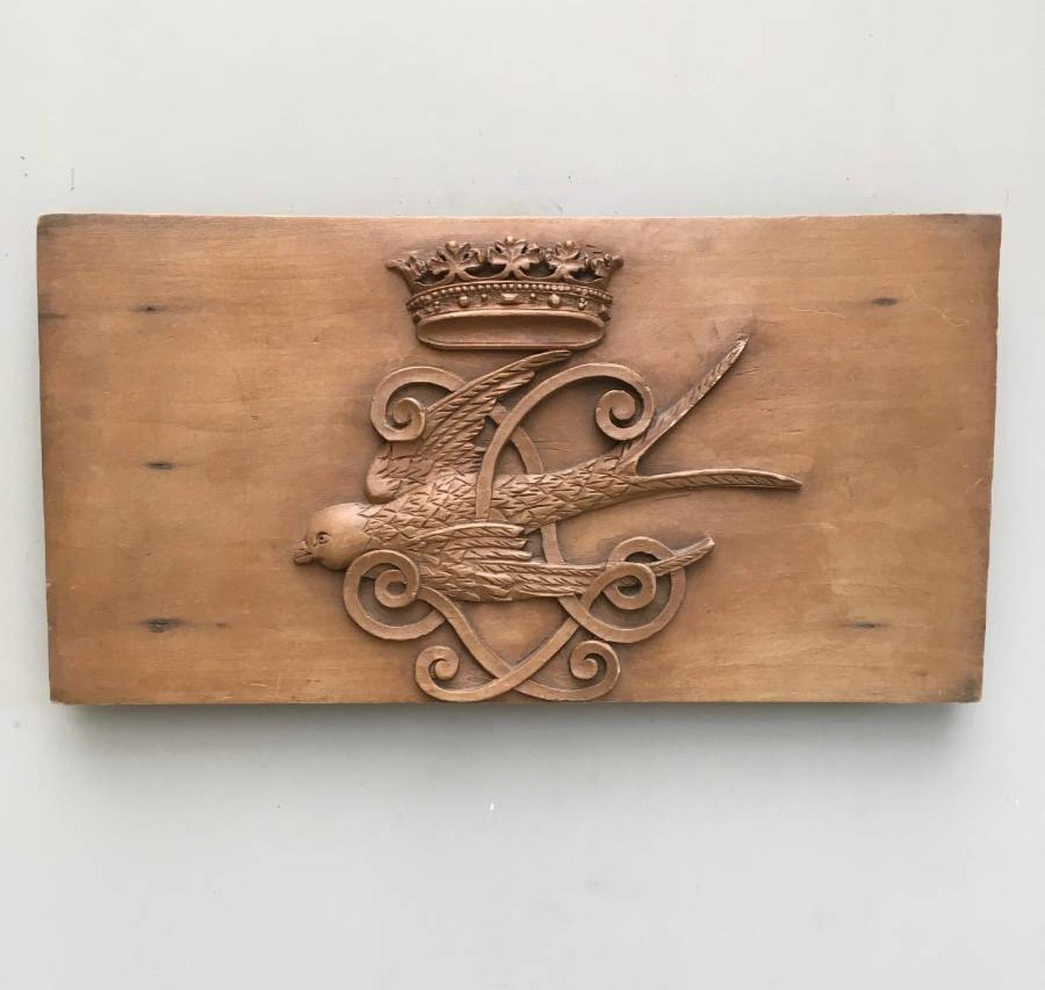 Victorian Carved Pine Panel - Crown over Flying Bird